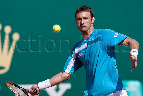 MONTE CARLO, MONACO. 14/04/2010 Juan Carlos Ferrero (ESP) in action during the second round match  Benjamin Becker (GER) and Juan Carlos Ferrero (ESP) at the ATP Monte Carlo Masters tennis tournament held in the Monte Carlo Country Club, Monaco,  from the 12th to the 18th April.