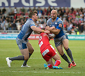 June 4th 2017, AJ Bell Stadium, Salford, Greater Manchester, England;  Rugby Super League Salford Red Devils versus Wakefield Trinity; Liam Finn of Wakefield Trinity is tackled by Kris Brining of Salford