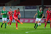 Natasha Harding of Wales has a shot during the UEFA Womens Euro Qualifier match between Wales and Northern Ireland at Rodney Parade in Newport, Wales, UK. Tuesday 03, September 2019