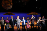 Pearl Sun, Tamika Lawrence, Jerry Dixon, James Snyder, Idina Menzel, LaChanze, Anthony Rapp, Jenn Colella and Jason Tam during the Broadway Opening Night Performance curtain call for  'IF/THEN' at the Richard Rodgers Theatre on March 30, 2014 in New York City.