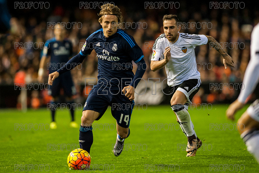 VALENCIA, SPAIN - JANUARY 3: Modric, Paco Alcacer during BBVA LEAGUE match between Valencia C.F. and Real Madrid at Mestalla Stadium on January 3, 2015 in Valencia, Spain