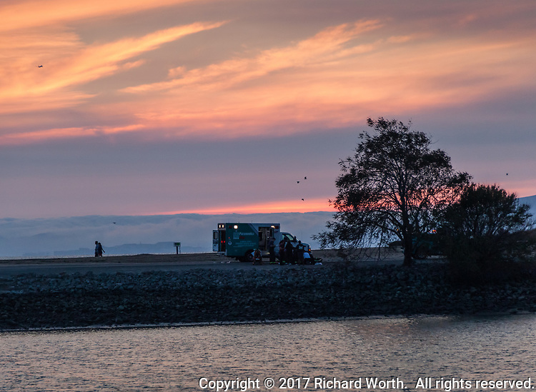 A medical emergency at sunset sent paramedics and Alameda County firefighters to the par course at the San Leandro Marina Park Tuesday October 17, 2017.
