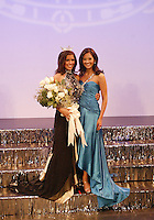 12 July, 2008:    Miss Tahoma Janet Harding (right) poses with 2007 Miss Washington winner Elyse Umemoto on stage after being awarded the title of 2008 Miss Washington at the Pantages Theater in Tacoma , Washington.