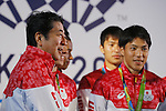 (L-R)   Shinzo Abe, Ryota Yamagata(JPN), <br /> AUGUST 21, 2016 - : <br /> Japanese prime minister Shinzo Abe attended the exchange meeting with Japan National team member and <br /> their medalist<br /> at Japan House in Rio de Janeiro <br /> during the Rio 2016 Olympic Games in Rio de Janeiro, Brazil. <br /> (Photo by Yusuke Nakanishi/AFLO SPORT)