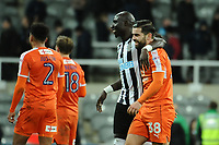 Mohamed Diame of Newcastle United shares a joke with Elliot Lee of Luton Town during Newcastle United vs Luton Town, Emirates FA Cup Football at St. James' Park on 6th January 2018