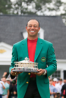 Tiger Woods (USA) dons the green jacket on the putting green at The 2019 Masters , Augusta National, Augusta, Georgia, USA. 14/04/2019.<br /> Picture Fran Caffrey / Golffile.ie<br /> <br /> All photo usage must carry mandatory copyright credit (© Golffile | Fran Caffrey)