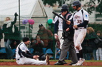 17 October 2010: Florian Peyrichou of Savigny scores on a slide during Rouen 10-5 win over Savigny, during game 2 of the French championship finals, in Savigny sur Orge, France.