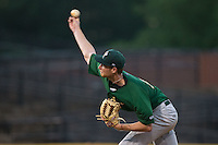 Savannah Sand Gnats starting pitcher Casey Meisner (15) delivers a pitch to the plate against the Hickory Crawdads at L.P. Frans Stadium on June 15, 2015 in Hickory, North Carolina.  The Crawdads defeated the Sand Gnats 4-1.  (Brian Westerholt/Four Seam Images)