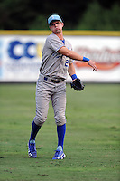 Burlington Royals center fielder Bubba Starling #23 warms up before a game against the Greenville Astros at Pioneer Park on August 17, 2012 in Greenville, Tennessee. The Astros defeated the Royals 5-1. (Tony Farlow/Four Seam Images).
