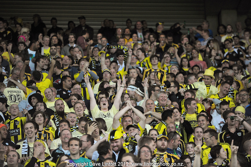 The Yellow Fever zone during the A-League elimination final football match between Wellington Phoenix v Sydney FC at Westpac Stadium, Wellington, New Zealand on Friday, 30 March 2012. Photo: Dave Lintott / lintottphoto.co.nz