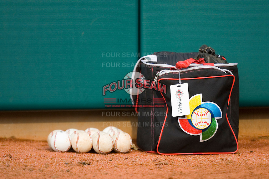 A bag of baseballs sits in the Team Canada bullpen at the USA Baseball National Training Center, September 4, 2009 in Cary, North Carolina.  (Photo by Brian Westerholt / Four Seam Images)