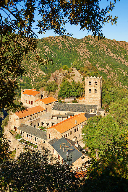 The First or Lombard Romanesque style Abbey of Saint Martin-du-Canigou in the Pyrenees, Orientales department, France.
