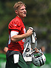 Josh McCown #15, New York Jets quarterback, cools off during a hot afternoon of team practice at the Atlantic Health Jets Training Center in Florham Park, NJ on Saturday, July 28, 2018.