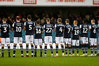 9th February 2020; The Den, London, England; English Championship Football, Millwall versus West Bromwich Albion; Millwall starting ten players during a minutes applause before kick off for all the Millwall fans who passed away during 2019