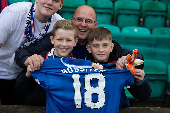 13.05.2018 Hibs v Rangers: Rangers fans with Jordan Rossiter's shirt and Jak Alnwick's gloves