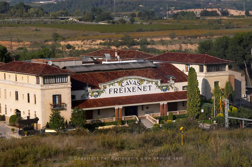 Cavas Freixenet winery. Sant Sadurni d'Anoia, San Sadurni de Noya. Winery building. Spain.