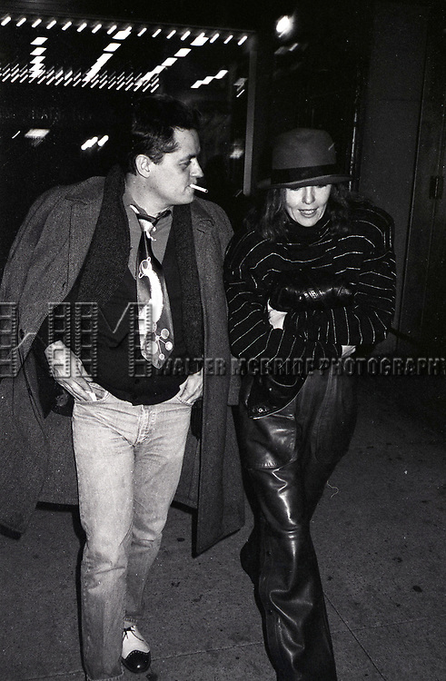 Jonathan Demme and Diane Keaton attend a performance of 'Crimes of the Heart' at the Golden Theatre on November  1, 1981 in New York City.