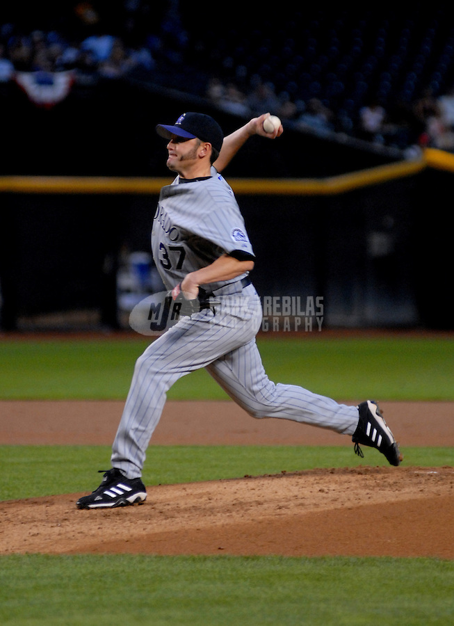 Apr 13, 2006; Phoenix, AZ, USA; Colorado Rockies pitcher (37) Josh Fogg pitches against the Arizona Diamondbacks at Chase Field in Phoenix, AZ. Mandatory Credit: Mark J. Rebilas