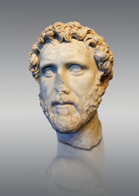 Roman portrait bust of Emperor Antoninus Pius, 138-161 AD. Titus Fulvius Aelius Hadrianus Antoninus Augustus Pius, also known as Antoninus, was Roman Emperor from 138 to 161. He was a member of the Nerva&ndash;Antonine dynasty and the Aurelii.[3]<br /> He acquired the name Pius after his accession to the throne, either because he compelled the Senate to deify his adoptive father Hadrian, or because he had saved senators sentenced to death by Hadrian in his later years. The National Roman Museum, Rome, Italy