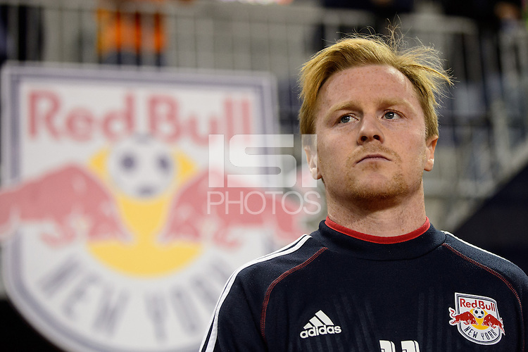 Dax McCarty (11) of the New York Red Bulls comes out for warmups prior to playing the Houston Dynamo during the second leg of the Major League Soccer (MLS) Eastern Conference Semifinals at Red Bull Arena in Harrison, NJ, on November 6, 2013.