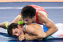 (T-B) Shinobu Ota (JPN), Hamid Mohammad Soryan (IRI), AUGUST 14, 2016 - Wrestling : Shinobu Ota of Japan competes against Hamid Mohammad Soryan of Iran during the Rio 2016 Olympic Games Men's Greco-Roman 59kg Qualification at Olympic Training Center Hall 3 in Rio de Janeiro, Brazil. (Photo by Enrico Calderoni/AFLO SPORT)