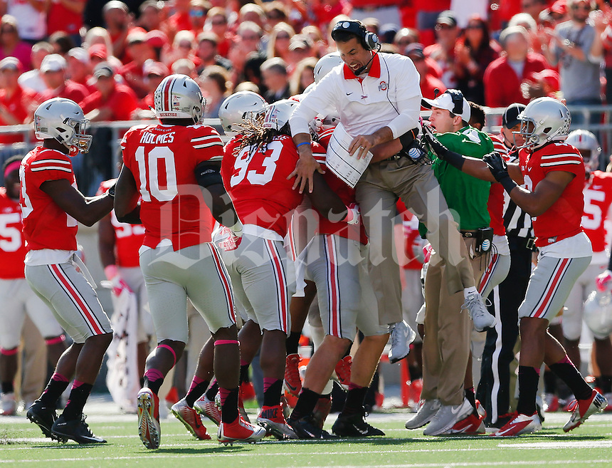 Ohio State co-defensive coordinator Luke Fickell celebrates with the Buckeye defense after and interception during a NCAA college football game between the Ohio State Buckeyes and the Maryland Terrapins on Saturday, October 10, 2015 at Ohio Stadium in Columbus, Ohio. (Joshua A. Bickel/The Columbus Dispatch)