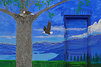 Where eagles fly. Montana graffiti painted on a wall in Polson, Montana