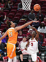 NWA Democrat-Gazette/J.T. WAMPLER Arkansas' Malica Monk gets her shot broken up by Tennessee's Mercedes Russell during the first half Thursday Feb. 8, 2018 at Bud Walton Arena in Fayetteville. The Razorbacks lost 90-85.