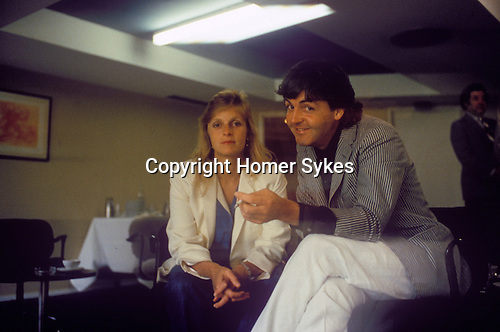 Paul and Linda McCartney backstage at the Cannes Film Festival 1980. France.