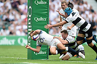 Piers Francis of England runs in a try. Quilter Cup International match between England and the Barbarians on May 27, 2018 at Twickenham Stadium in London, England. Photo by: Patrick Khachfe / Onside Images