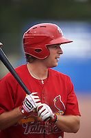 Palm Beach Cardinals outfielder Collin Radack (28) on deck during the first game of a doubleheader against the Dunedin Blue Jays on August 2, 2015 at Florida Auto Exchange Stadium in Dunedin, Florida.  Palm Beach defeated Dunedin 4-1.  (Mike Janes/Four Seam Images)