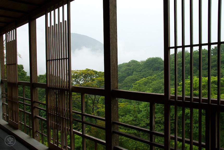 The view from the balcony at the Gora Kadan ryokan during the rainy season, Gora, Hakone.