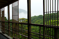 The view from the balcony at the Gora Kadan ryokan during the rainy season, Gora, Hakone.