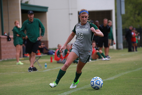 Denton, TX - SEPTEMBER 16: Michelle Young #16 of the North Texas Mean Green soccer in action against the Texas Christian University Horned Frogs at the Mean Green Village Soccer Field University in Denton on September 16, 2012 in Denton, Texas. (Photo by Rick Yeatts)