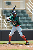 Thomas Jones (12) of the Greensboro Grasshoppers at bat against the Kannapolis Intimidators at Kannapolis Intimidators Stadium on August 5, 2018 in Kannapolis, North Carolina. The Grasshoppers defeated the Intimidators 2-1 in game one of a double-header.  (Brian Westerholt/Four Seam Images)