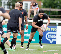 London players warm-up during the Kingstone Press Championship game between London Broncos and Oldham Roughyeds at Ealing Trailfinders, Ealing, on Sun June 19, 2016