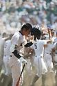 Reito Nasu (Nobeoka Gakuen),<br /> AUGUST 22, 2013 - Baseball :<br /> Reito Nasu of Nobeoka Gakuen looks dejected as Maebashi Ikuei players celebrate in the background after the 95th National High School Baseball Championship Tournament final game between Maebashi Ikuei 4-3 Nobeoka Gakuen at Koshien Stadium in Hyogo, Japan. (Photo by Toshihiro Kitagawa/AFLO)