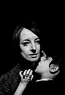 Manhattan, New York, 1966. France Raysse wife and muse of french artist Martial Raysse during a performance with her daughter in NYC. She was inspired by the dark and gothic style.