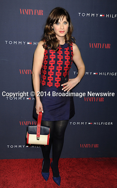 Pictured: Zooey Deschanel<br /> Mandatory Credit &copy; Gilbert Flores/Broadimage<br /> Tommy Hilfiger and Vanity Fair Celebrate the the To Tommy from Zooey Collaboration wth Zooey Deschanel<br /> <br /> 4/9/14, West Hollywood, California, United States of America<br /> <br /> Broadimage Newswire<br /> Los Angeles 1+  (310) 301-1027<br /> New York      1+  (646) 827-9134<br /> sales@broadimage.com<br /> http://www.broadimage.com