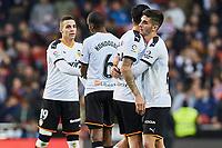 25th January 2020; Mestalla, Valencia, Spain; La Liga Football,Valencia versus Barcelona; valencia players celebrate after winning the game by a score of 2-0