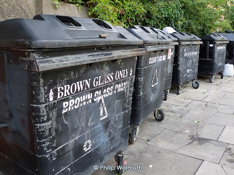 Glass recycling bins in Camden, London.