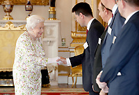 25 June 2019 - London, UK - Queen Elizabeth II greets Housing Secretary James Brokenshire during a reception at Buckingham Palace, London, to celebrate the work of UK faith and belief groups in bringing local communities together. Photo Credit: ALPR/AdMedia