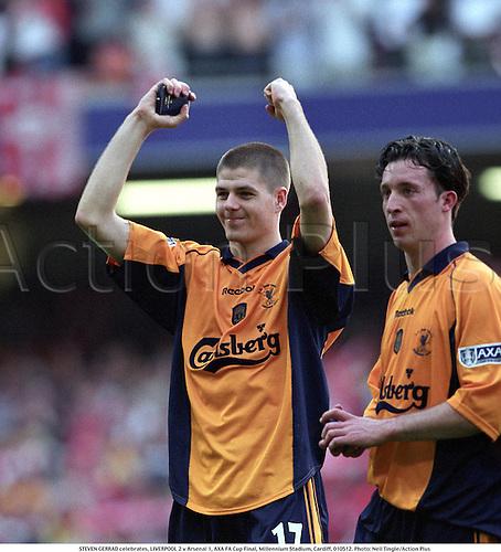 12.05.2001. Cardiff, Wales. STEVEN GERRARD celebrates. LIVERPOOL 2 versus Arsenal 1, AXA FA Cup Final, Millennium Stadium, Cardiff