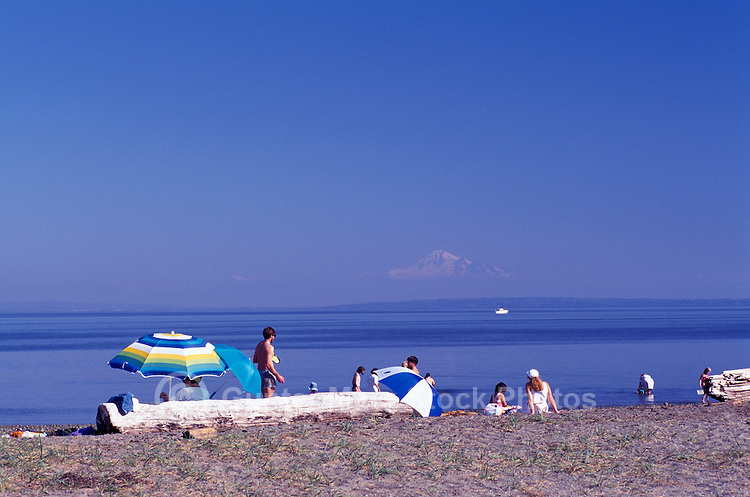 Summer Recreational Activities along Pacific Ocean, Boundary Bay Regional Park, Delta, BC, British Columbia, Canada - People sunbathing on Sandy Beach - Mount Baker, Washington, USA on Horizon
