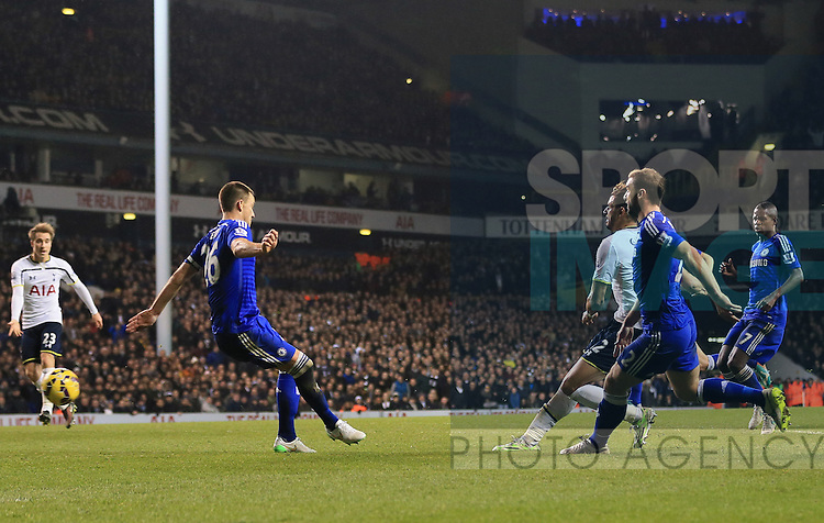 Tottenham's Nacer Chadli scoring his sides fifth goal<br /> <br /> Barclays Premier League - Tottenham Hotspur vs Chelsea - White Hart Lane  - England - 1st January 2015 - Picture David Klein/Sportimage
