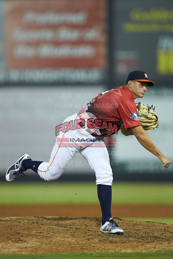 South Division pitcher Brandon Bielak (13) of the Buies Creek Astros follows through on his delivery during the 2018 Carolina League All-Star Classic at Five County Stadium on June 19, 2018 in Zebulon, North Carolina. The South All-Stars defeated the North All-Stars 7-6.  (Brian Westerholt/Four Seam Images)