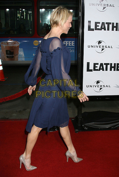 "RENEE ZELLWEGER .""Leatherheads"" World Premiere held at Grauman's Chinese Theatre, Hollywood, California, USA,.31 March 2008..full length navy blue sheer long sleeved dress back behind silver Christian Louboutin shoes .CAP/ADM/RE.©Russ Elliot/Admedia/Capital PIctures"