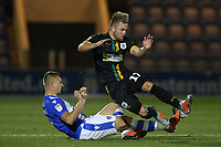 Luke Norris of Colchester United and Alex Pattison of Yeovil Town during Colchester United vs Yeovil Town, Sky Bet EFL League 2 Football at the JobServe Community Stadium on 2nd October 2018