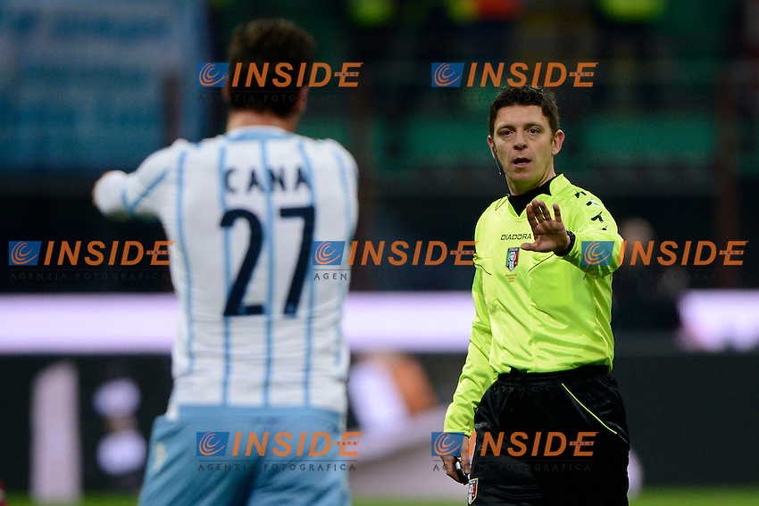 Lorik Cana Lazio, Gianluca Rocchi arbitro. Referee<br /> Milano 27-01-2015 Stadio Giuseppe Meazza - Football Calcio Coppa Italia Milan - Lazio. Foto Giuseppe Celeste / Insidefoto