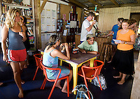 Guests at Hotel Iguana enjoy their free coffee and gourmet food in the morning on Little Corn Island, Nicaragua in April, 2009.